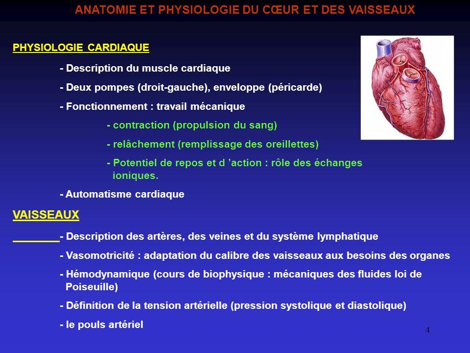 ANATOMIE ET PHYSIOLOGIE DU CŒUR ET DES VAISSEAUX