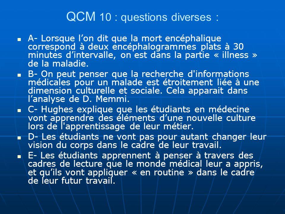 QCM 10 : questions diverses :
