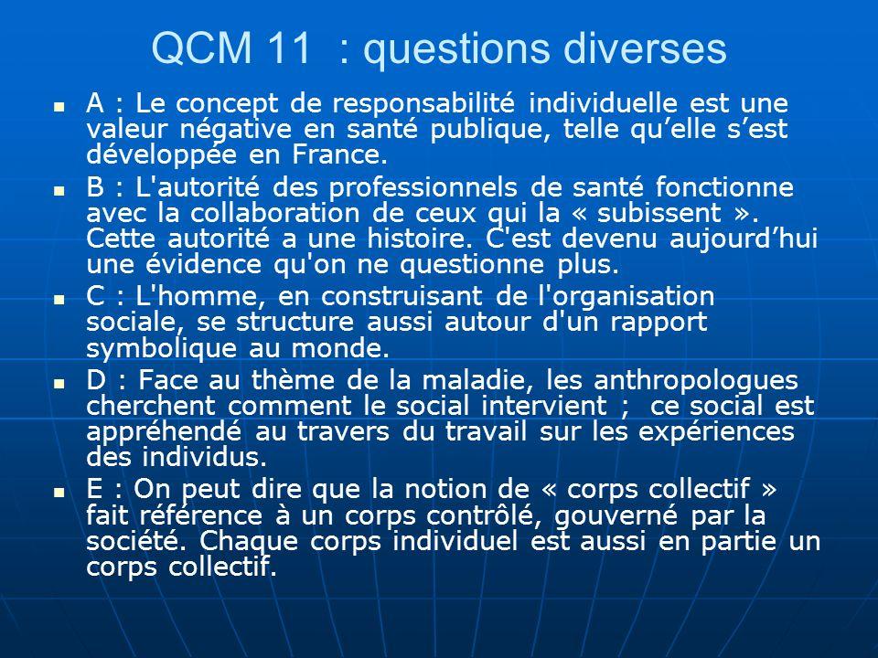 QCM 11 : questions diverses