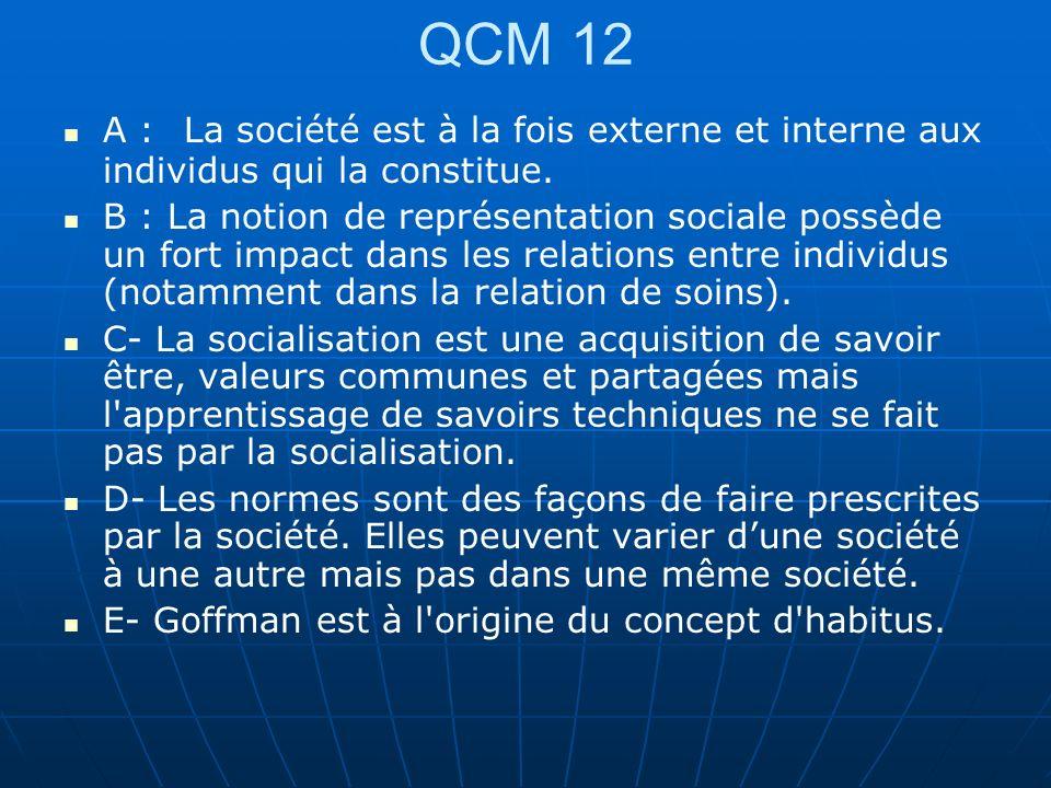 QCM 12 A : La société est à la fois externe et interne aux individus qui la constitue.