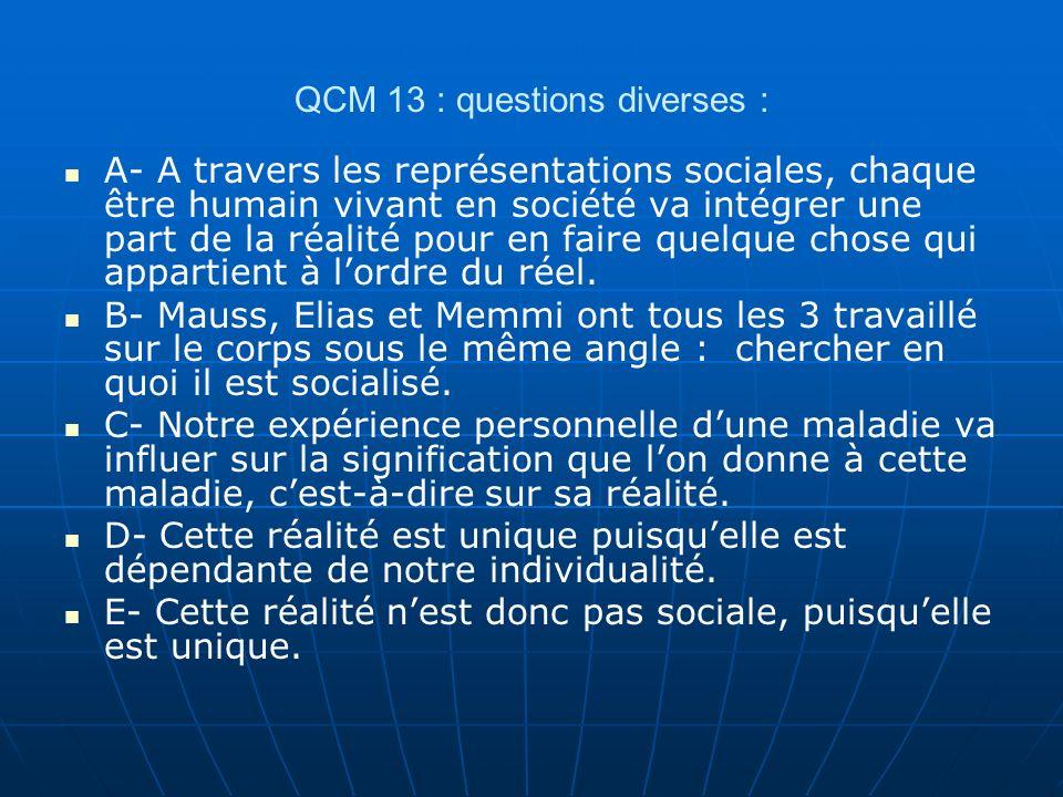 QCM 13 : questions diverses :