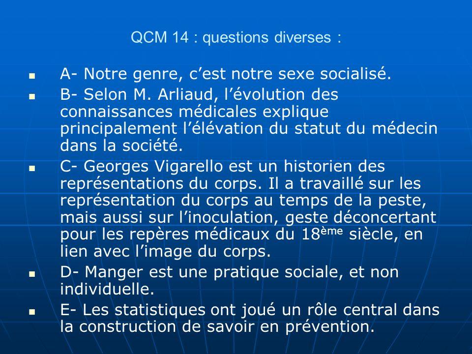 QCM 14 : questions diverses :