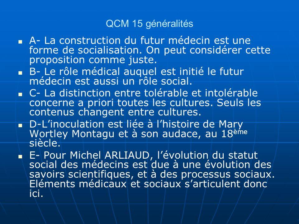 QCM 15 généralités A- La construction du futur médecin est une forme de socialisation. On peut considérer cette proposition comme juste.
