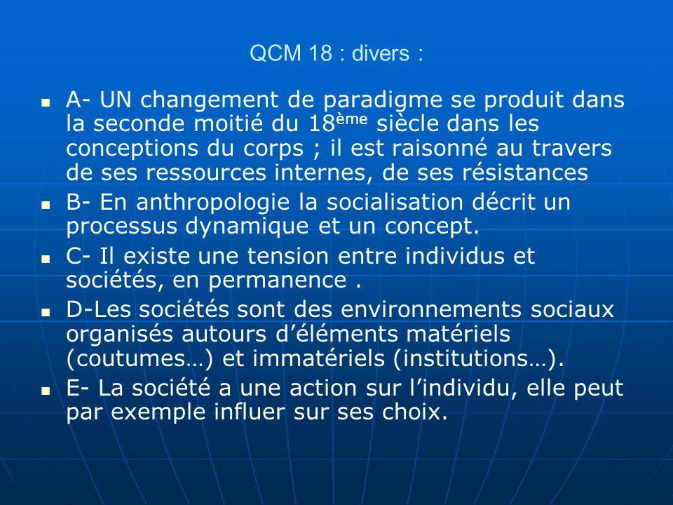 QCM 18 : divers :