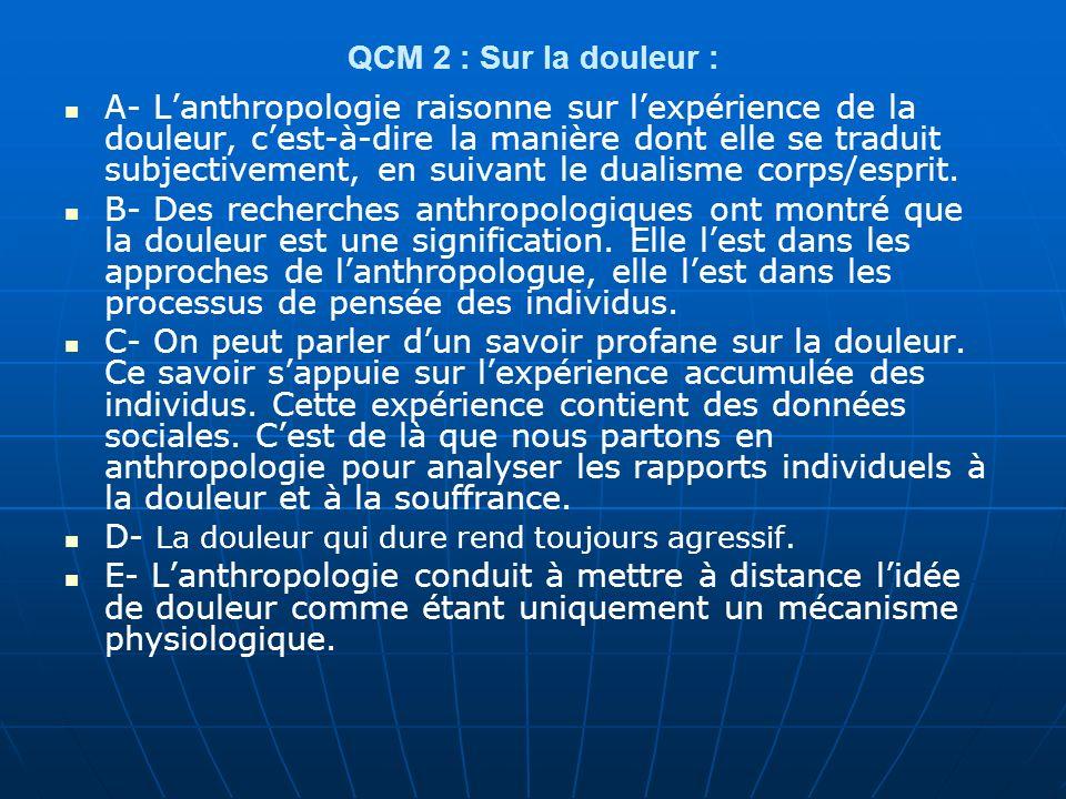QCM 2 : Sur la douleur :