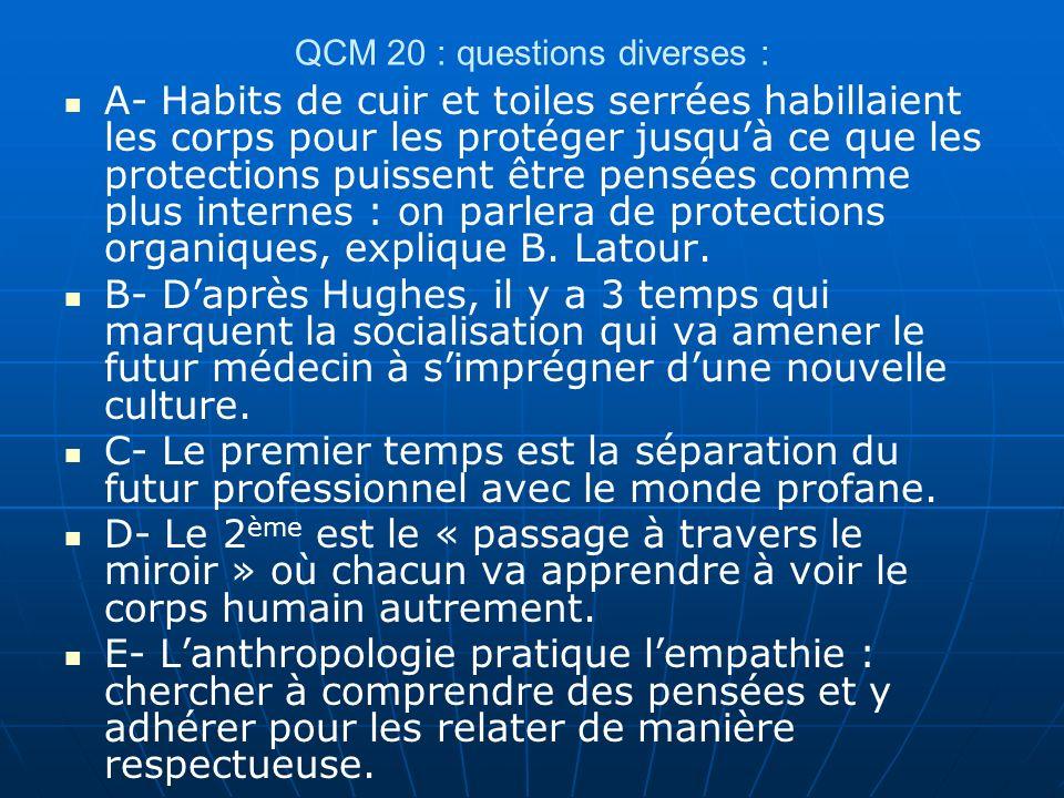 QCM 20 : questions diverses :
