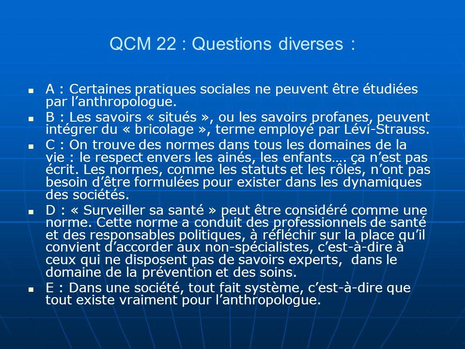 QCM 22 : Questions diverses :