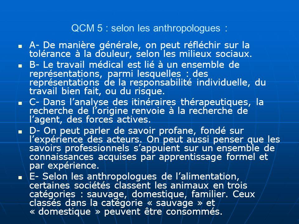 QCM 5 : selon les anthropologues :