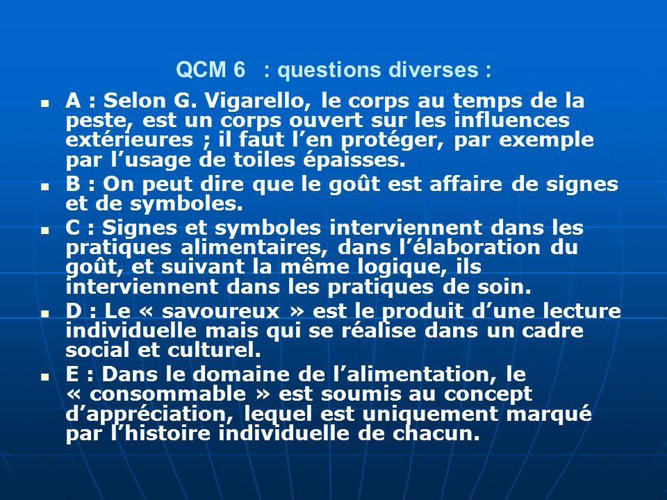 QCM 6 : questions diverses :
