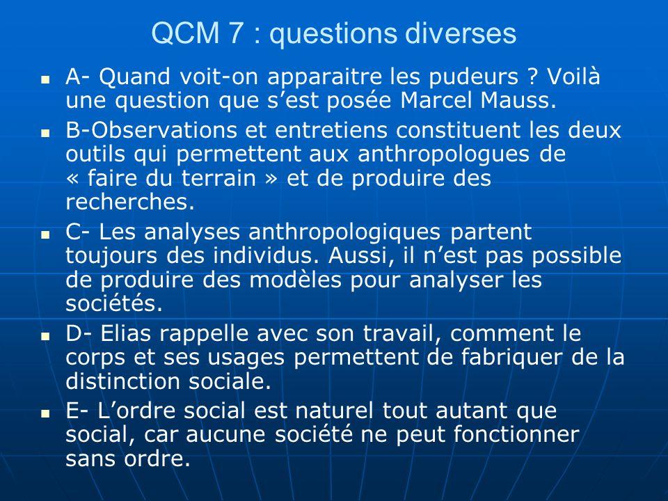 QCM 7 : questions diverses