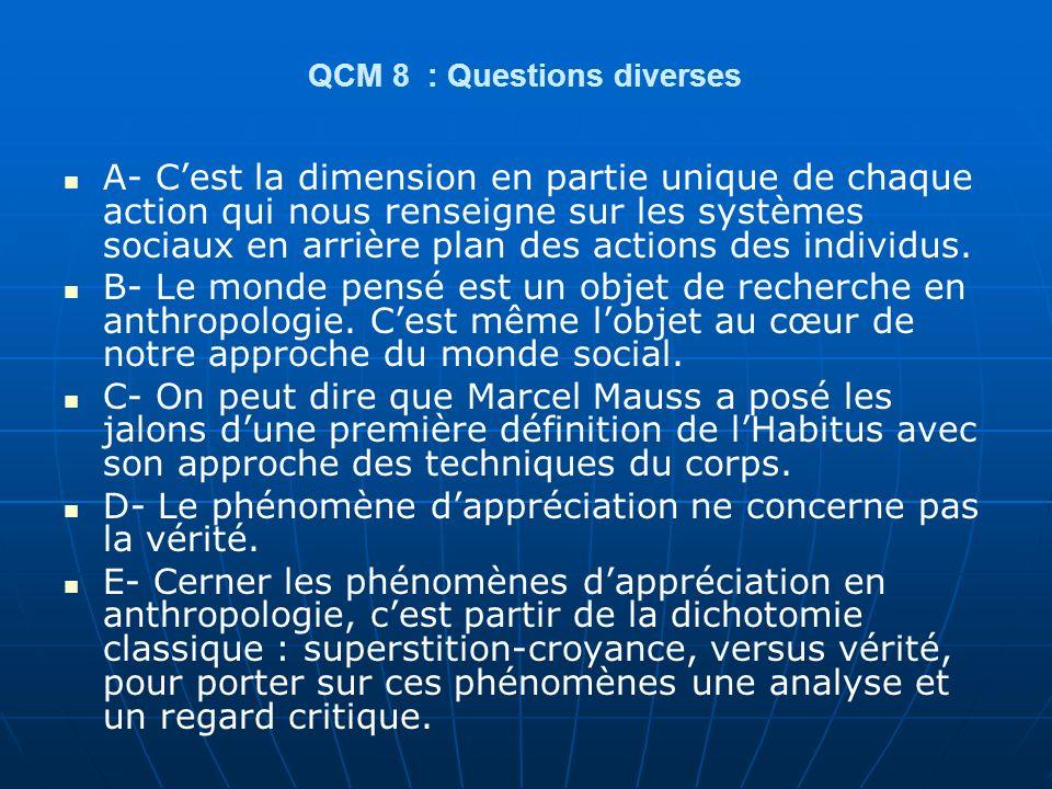 QCM 8 : Questions diverses