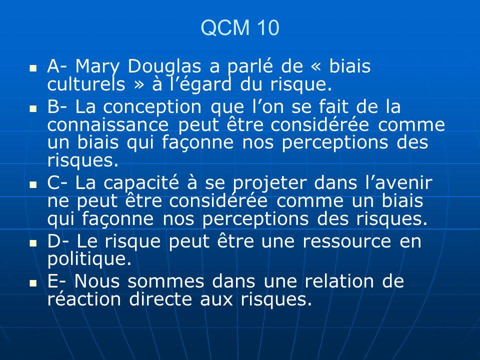 QCM 10 A- Mary Douglas a parlé de « biais culturels » à l'égard du risque.