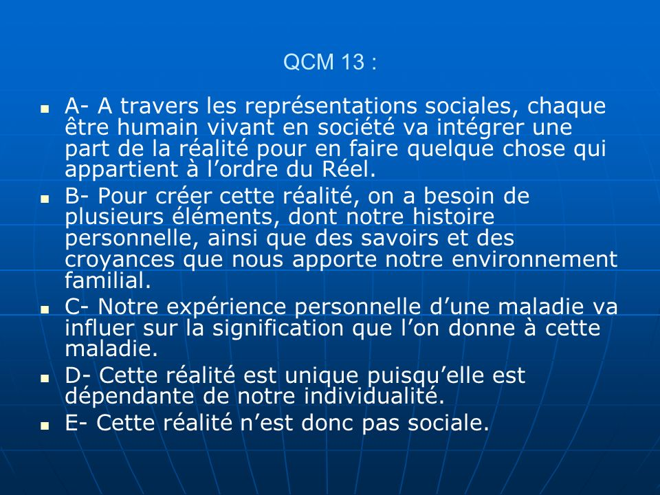 QCM 13 :