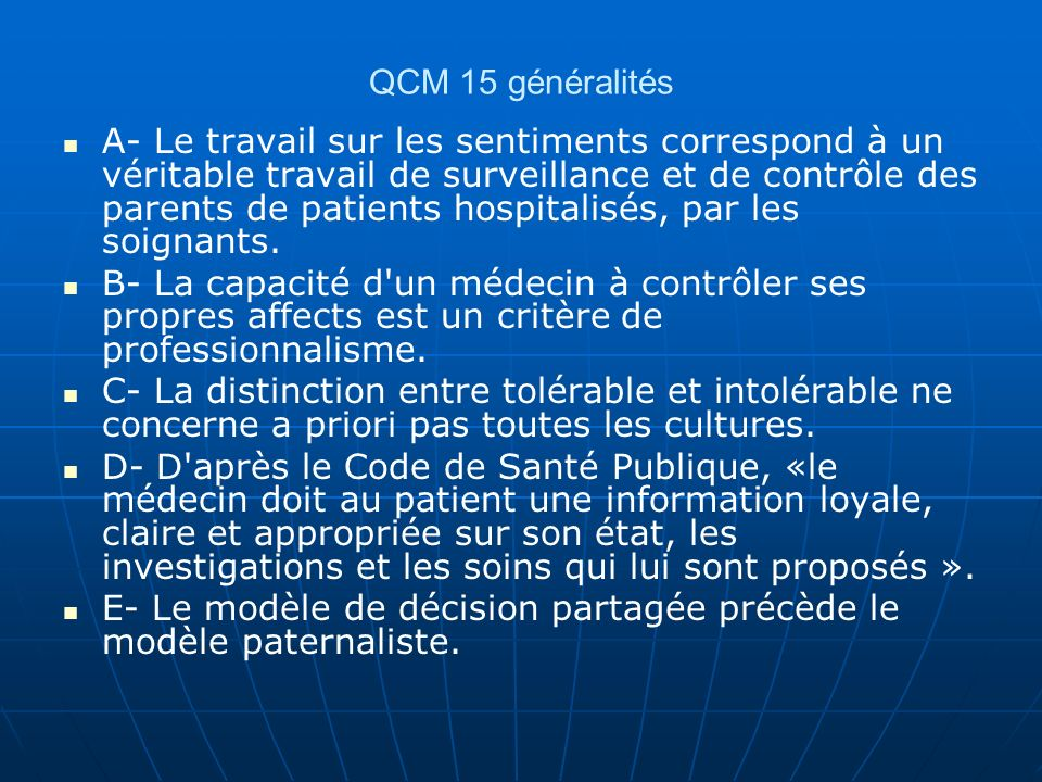 QCM 15 généralités