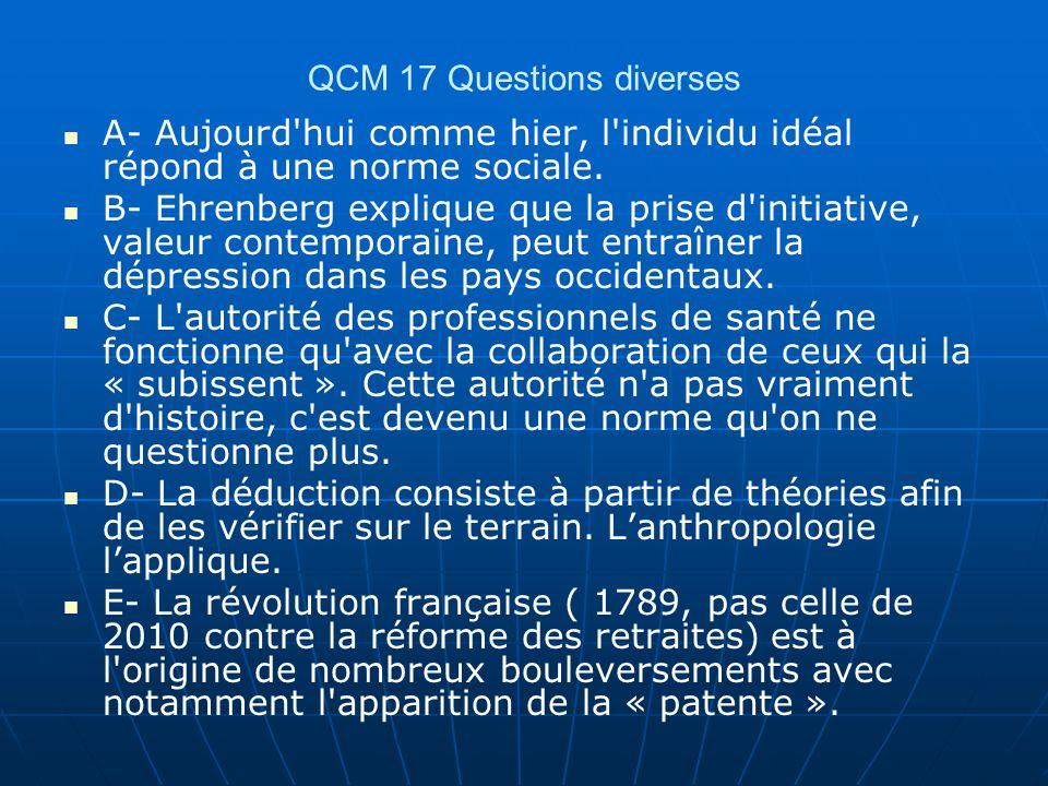 QCM 17 Questions diverses