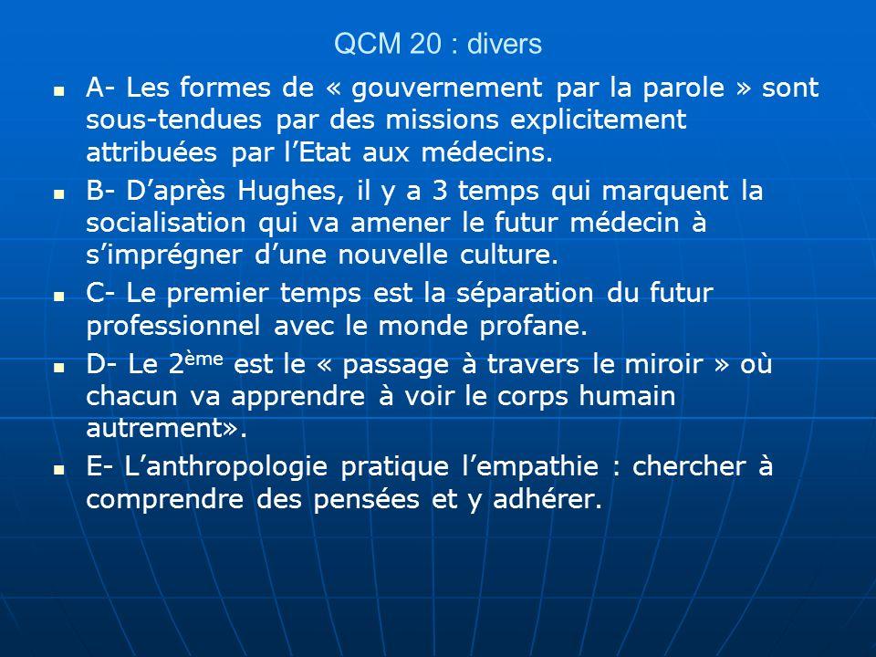QCM 20 : divers A- Les formes de « gouvernement par la parole » sont sous-tendues par des missions explicitement attribuées par l'Etat aux médecins.