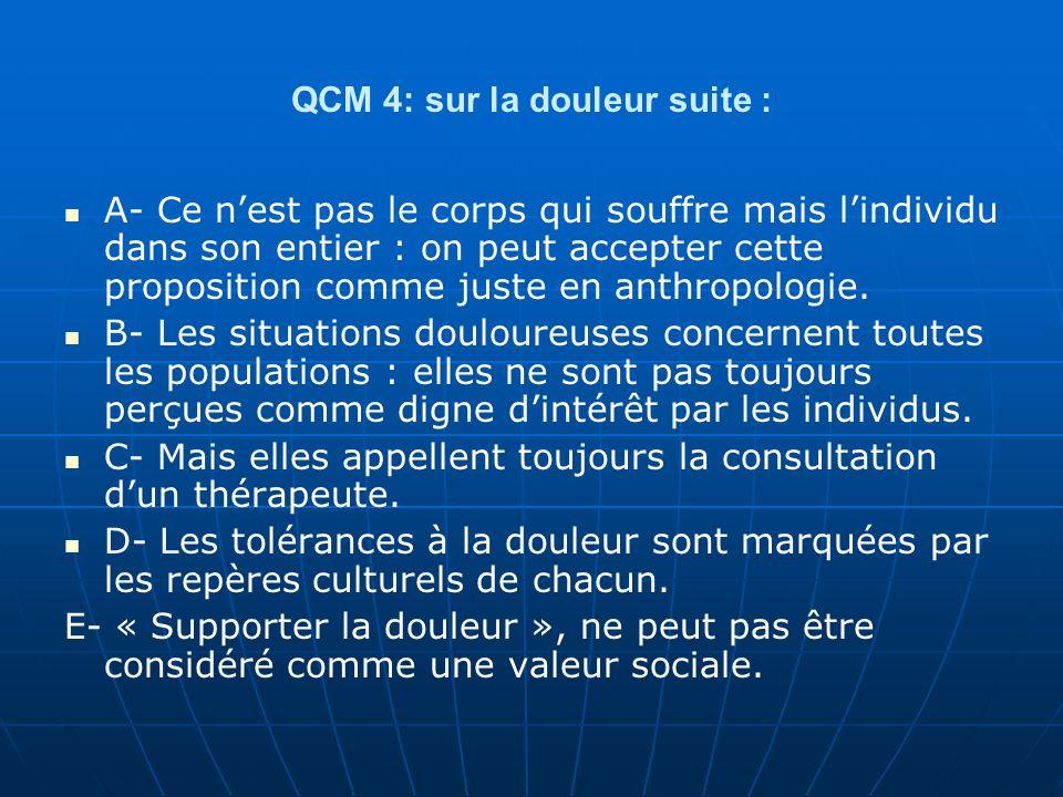 QCM 4: sur la douleur suite :