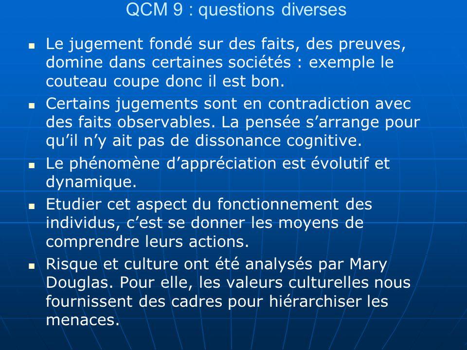 QCM 9 : questions diverses