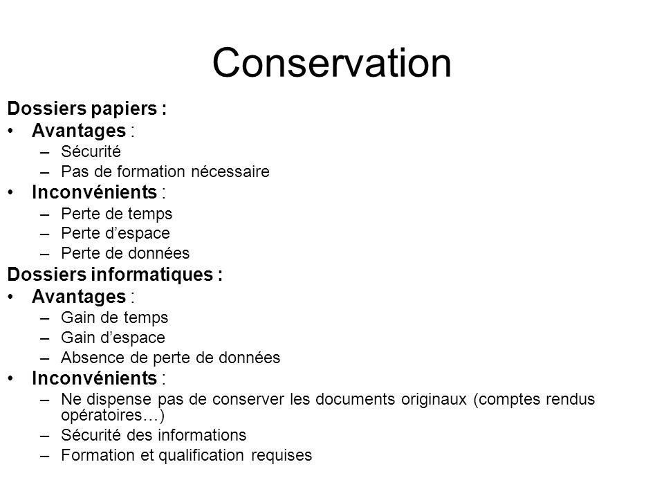 Conservation Dossiers papiers : Avantages : Inconvénients :