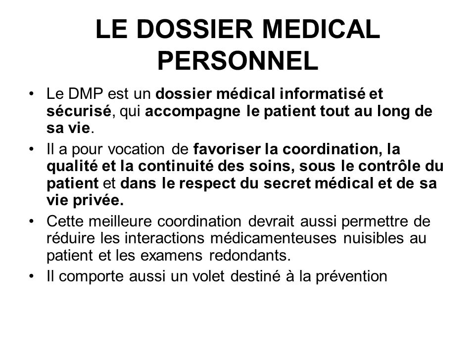 LE DOSSIER MEDICAL PERSONNEL