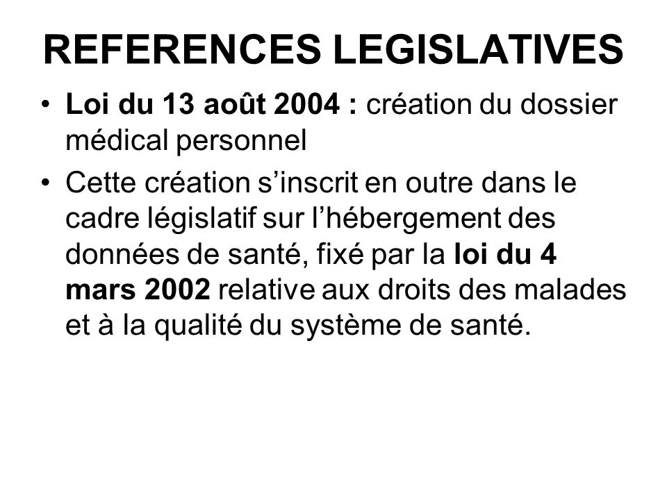 REFERENCES LEGISLATIVES