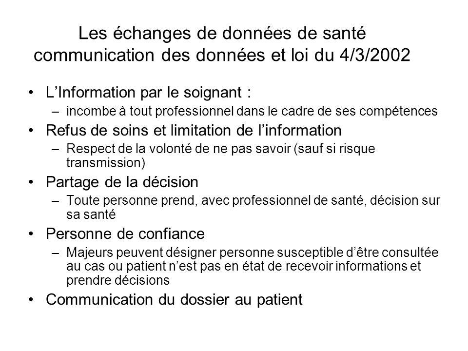 Les échanges de données de santé communication des données et loi du 4/3/2002