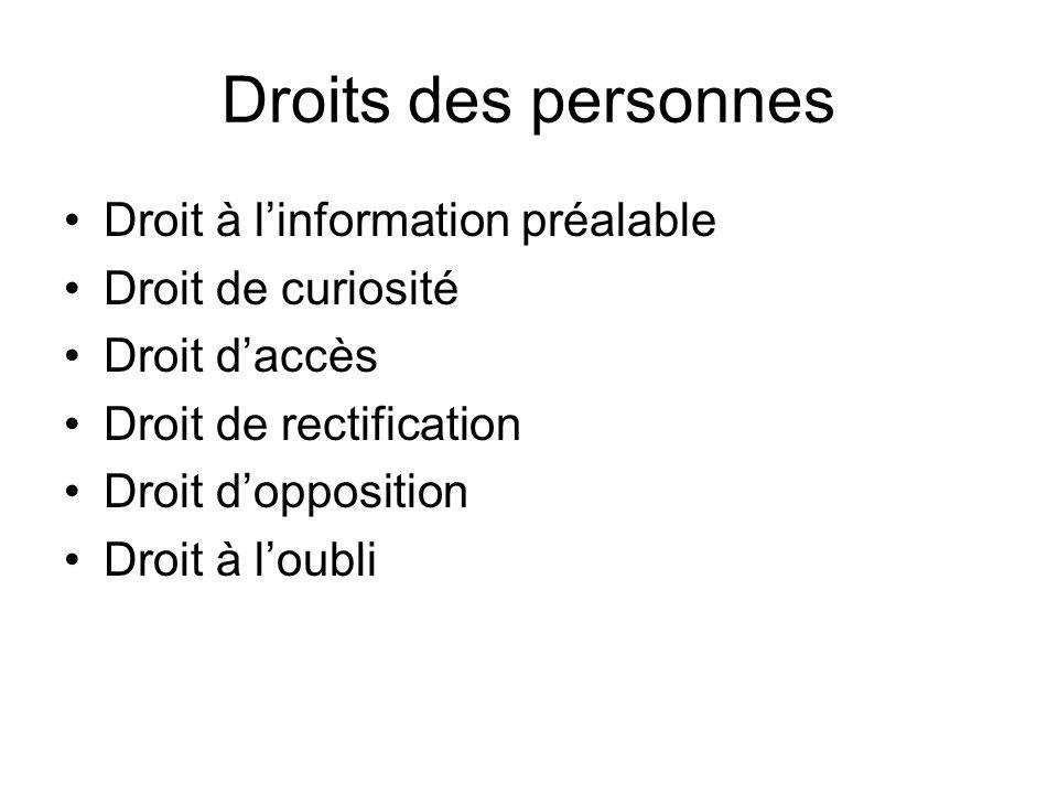 Droits des personnes Droit à l'information préalable