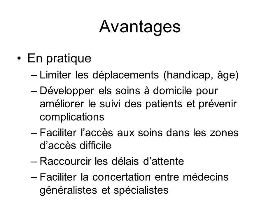 Avantages En pratique Limiter les déplacements (handicap, âge)