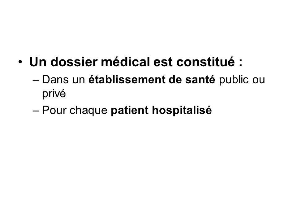 Un dossier médical est constitué :