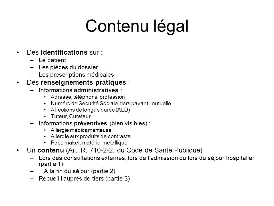 Contenu légal Des identifications sur : Des renseignements pratiques :