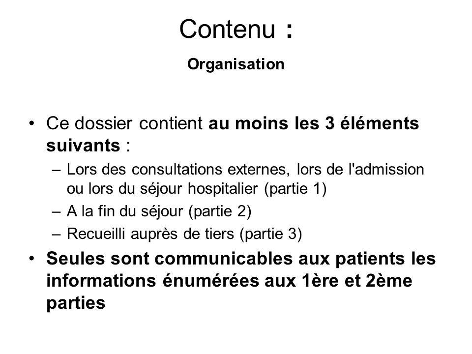 Contenu : Organisation