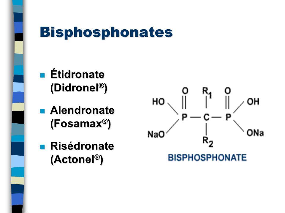Bisphosphonates Étidronate (Didronel®) Alendronate (Fosamax®)
