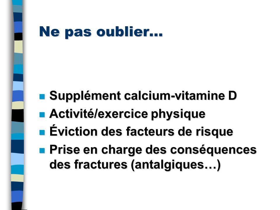 Ne pas oublier… Supplément calcium-vitamine D