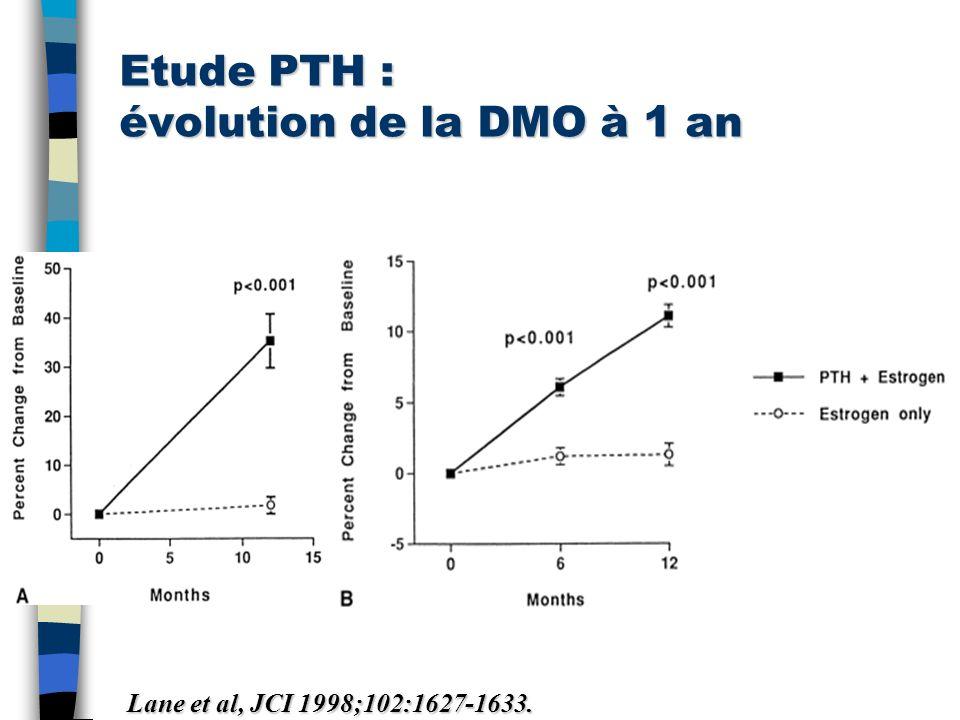 Etude PTH : évolution de la DMO à 1 an