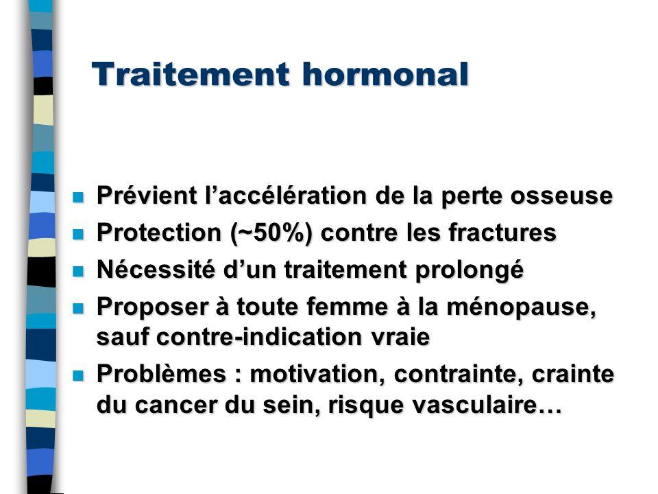 Traitement hormonal Prévient l'accélération de la perte osseuse