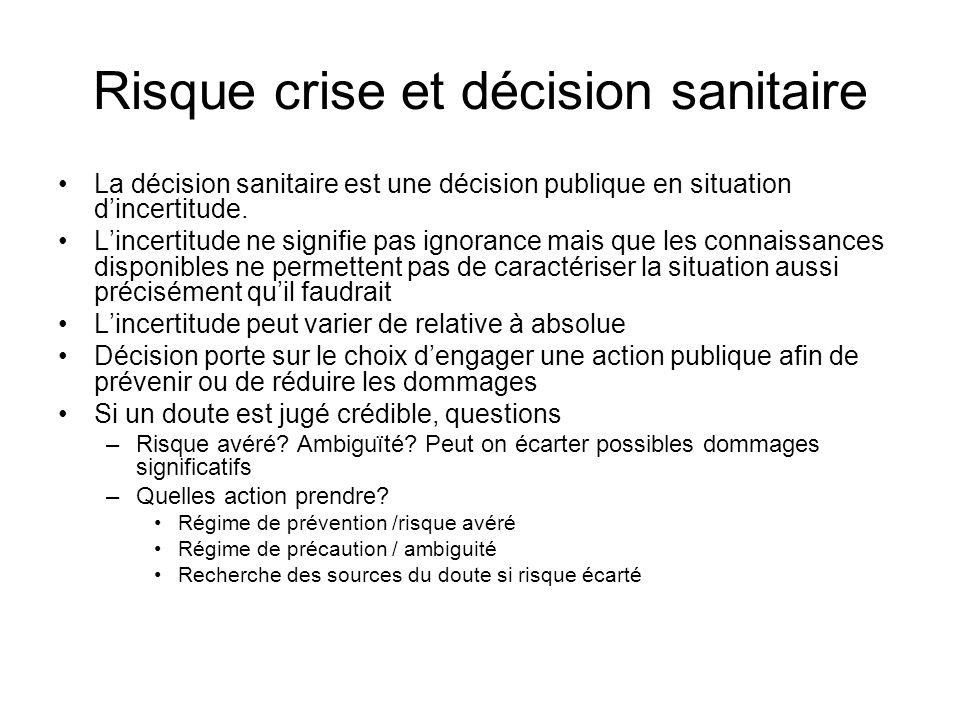 Risque crise et décision sanitaire