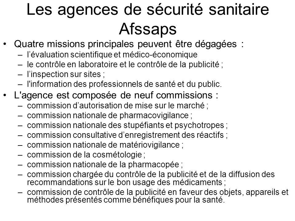 Les agences de sécurité sanitaire Afssaps