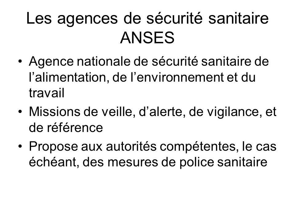 Les agences de sécurité sanitaire ANSES