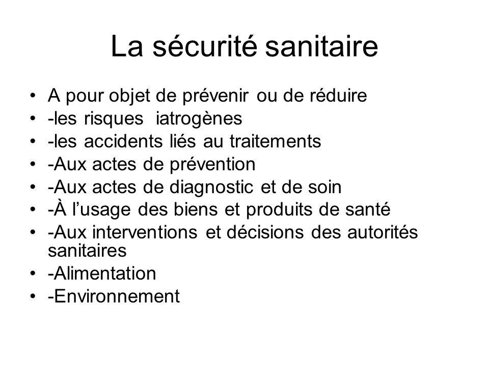 La sécurité sanitaire A pour objet de prévenir ou de réduire