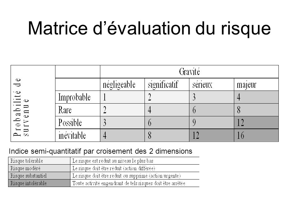Matrice d'évaluation du risque
