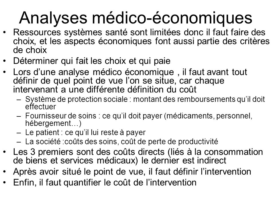Analyses médico-économiques