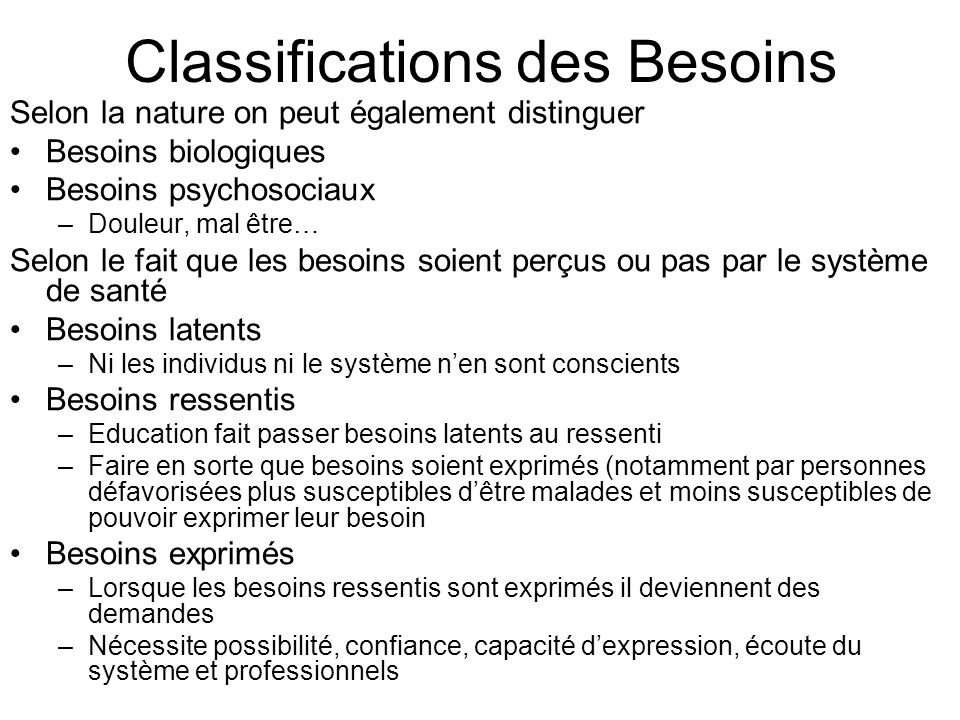 Classifications des Besoins