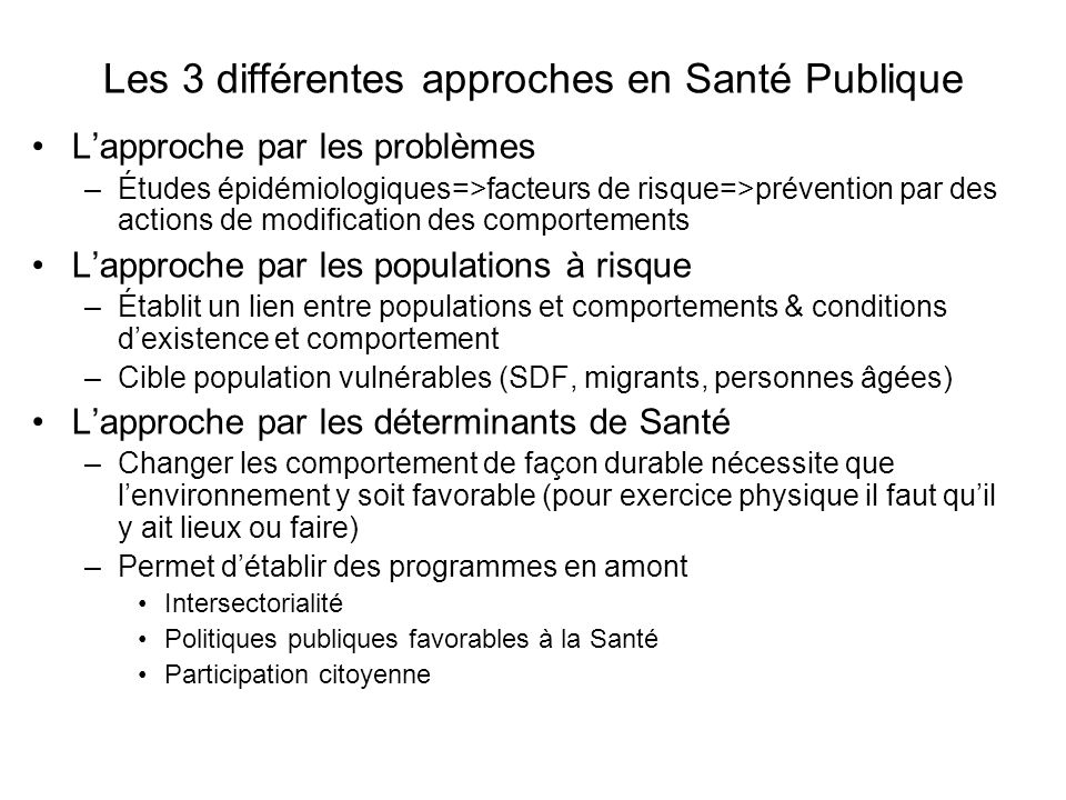 Les 3 différentes approches en Santé Publique