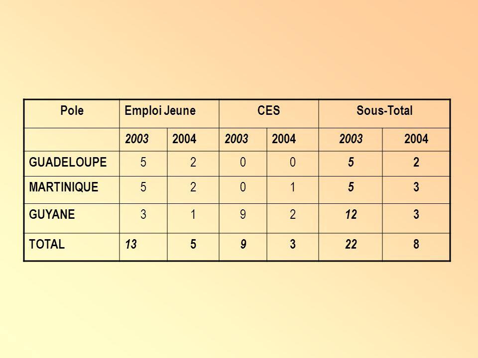 Pole Emploi Jeune CES Sous-Total 2003 2004 GUADELOUPE 5 2 MARTINIQUE 1 3 GUYANE 9 12 TOTAL 13 22 8