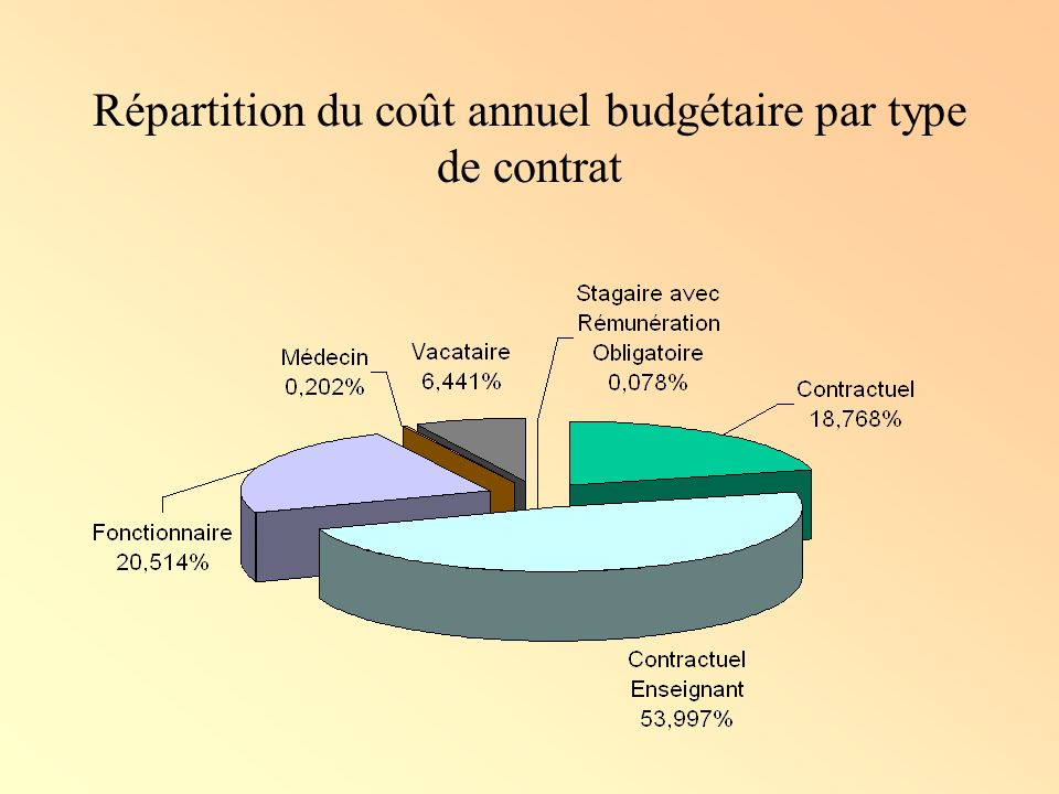 Répartition du coût annuel budgétaire par type de contrat