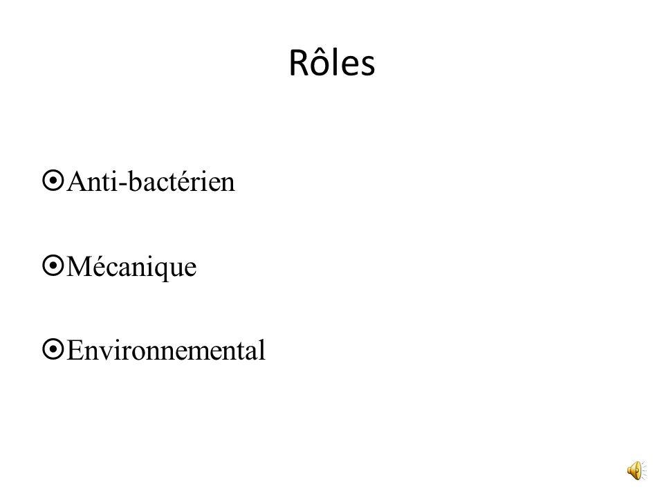 Rôles Anti-bactérien Mécanique Environnemental