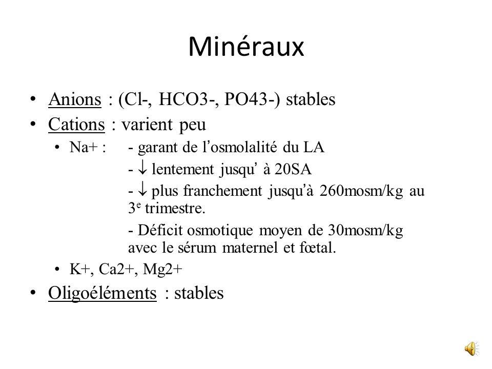 Minéraux Anions : (Cl-, HCO3-, PO43-) stables Cations : varient peu