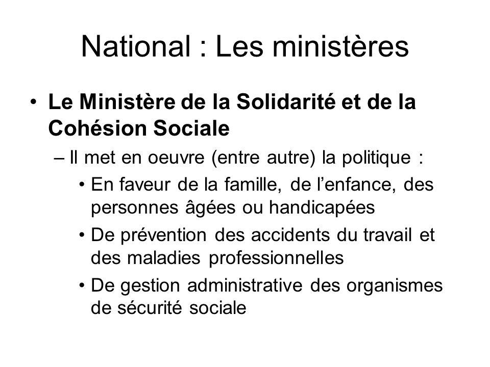 National : Les ministères