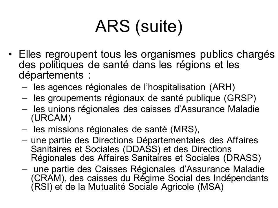 ARS (suite) Elles regroupent tous les organismes publics chargés des politiques de santé dans les régions et les départements :