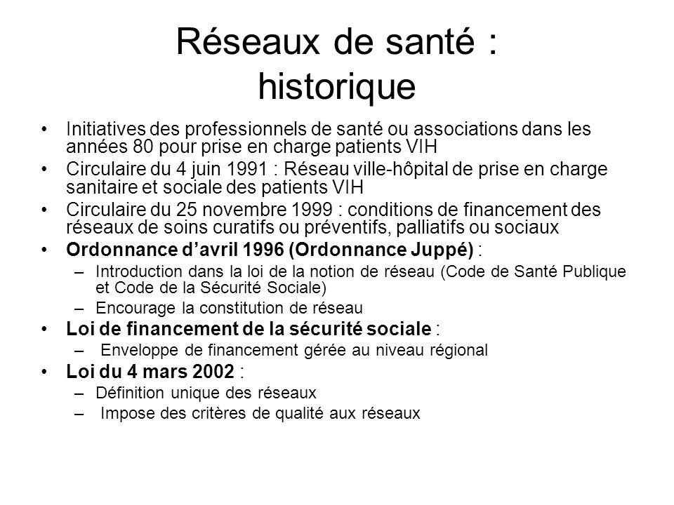 Réseaux de santé : historique